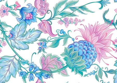Fantasy flowers in retro, vintage, jacobean embroidery style. Seamless pattern, background. Colored vector illustration. Isolated on white background..