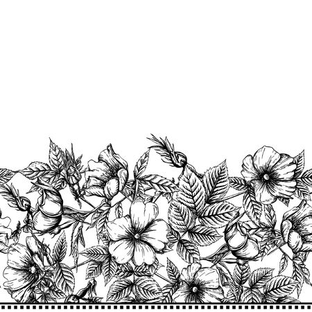 Seamless pattern, background with dog-rose, briar, brier, eglantine, canker-rose . Template for wedding invitation, greeting card, gift voucher. Graphic drawing, Vector illustration in black and white.