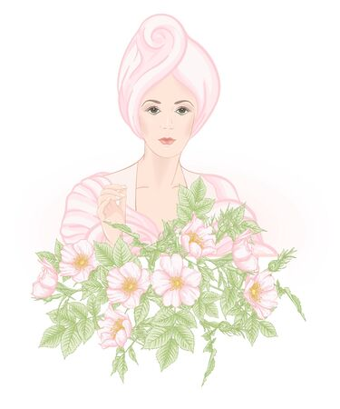 Beautiful woman 30-39 or 40-49 woman with a towel on her head and eglantine flowers. Hand drawn portrait, vector line art illustration. Stock Vector - 133286564