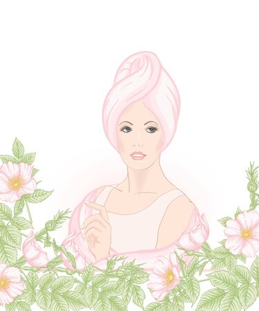 Beautiful woman 30-39 or 40-49 woman with a towel on her head and eglantine flowers. Hand drawn portrait, vector line art illustration. Stock Vector - 133286562