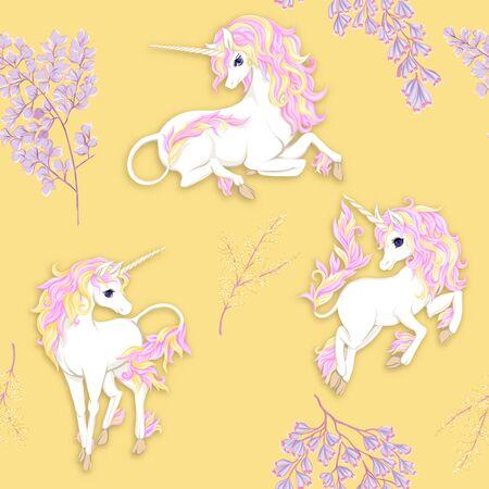 Modello senza cuciture, sfondo con unicorno e fiori fantastici e glitter. Illustrazione vettoriale. Nei colori rosa e giallo.