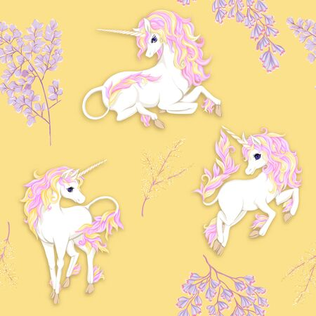 Seamless pattern, background with unicorn and fantsatic flowers and glitter. Vector illustration. In pink and yellow colors. Illustration