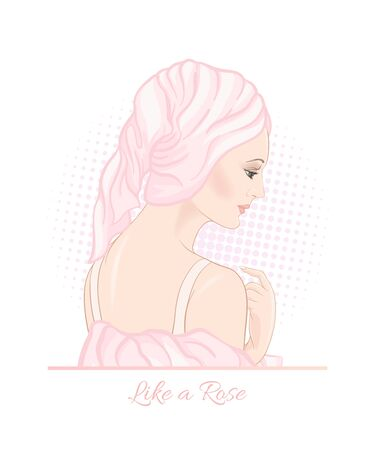 Beautiful woman 30-39 or 40-49 woman with a towel on her head. Hand drawn portrait, vector line art illustration in pink colors. Stockfoto - 133825103
