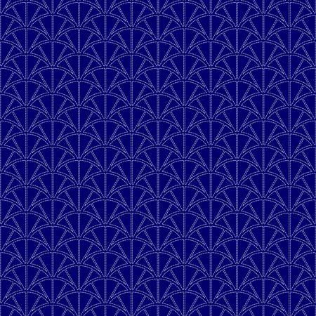Imitation of traditional Japanese embroidery Sashiko. Seamless pattern, background. Vector illustration. On navy blue background..  イラスト・ベクター素材