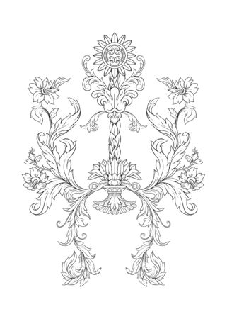 Elements In baroque, rococo, victorian renaissance style. Trendy floral vintage pattern. Vector illustration