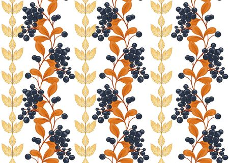 Seamless pattern with autumn leaves and berries In art nouveau style, vintage, old, retro style. Isolated on white background.