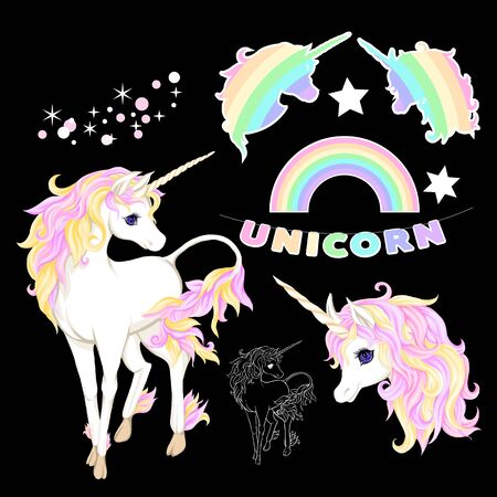 Set of unicorn, rainbow, stars, glitter isolated on black background. Vector illustration. Ilustração
