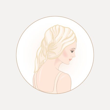 Beautiful woman 30-39 or 40-49 woman with a towel on her head. Hand drawn portrait, vector line art illustration in a circle.  イラスト・ベクター素材