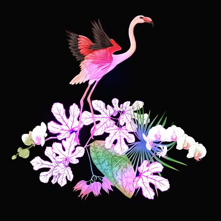 A composition of tropical plants, palm leaves, monsters and white orchids with flamingo In botanical style Colored vector illustration in neon, fluorescent colors. Colored and outline design.