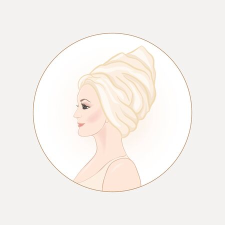Beautiful woman 30-39 or 40-49 woman with a towel on her head. Hand drawn portrait, vector line art illustration in a circle. Stock Vector - 135397940