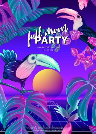 ..Retro Futurism. Vector futuristic synth wave illustration. Rave party Flyer design template, background with tropical plants and birds in 1980s style. 80s Retro poster, retrowave