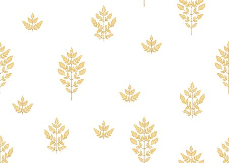 Seamless pattern with autumn leaves In art nouveau style, vintage, old, retro style. Outline hand drawing vector illustration.