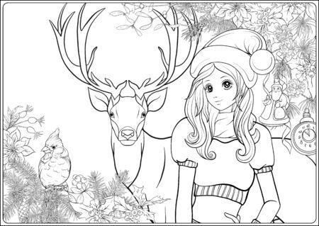 Corona de Navidad de abeto, pino, flor de pascua, pájaro de invierno, ciervo y linda chica con sombrero. Página para colorear para el libro de colorear para adultos. Ilustración de vector de dibujo a mano de contorno.