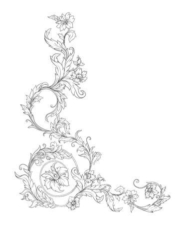 Elementos De estilo barroco, rococó y renacentista victoriano. Patrón vintage floral de moda. Ilustración vectorial Ilustración de vector