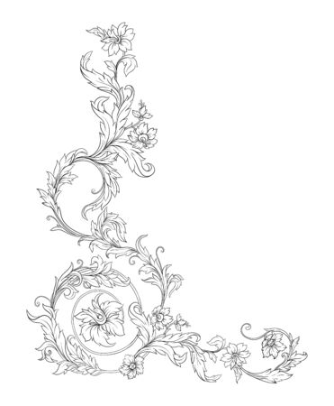 Elements In baroque, rococo, victorian renaissance style. Trendy floral vintage pattern. Vector illustration Stock fotó - 133825431