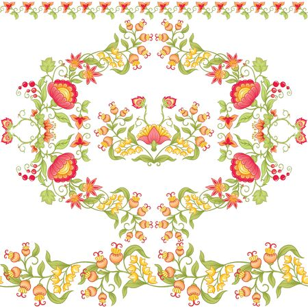 Tradition mughal motif, fantasy flowers in retro, vintage style. Seamless pattern, background. Vector illustration. Isolated on white background.. Vector Illustration