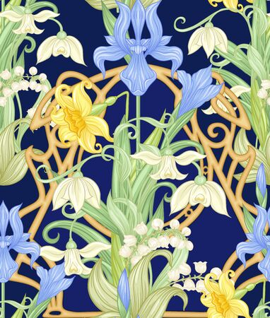 Spring flowers seamless pattern, background. Colored vector illustration. In art nouveau style, vintage, old, retro style. Isolated on white background..  イラスト・ベクター素材