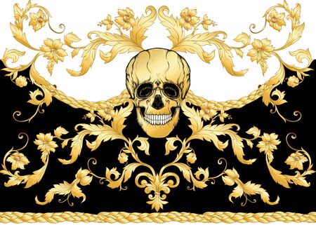 Seamless floral pattern, background In baroque style with human skull in gold white and black colors vector illustration Standard-Bild - 134672753