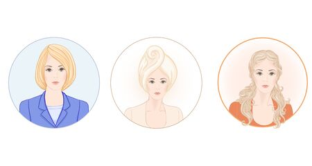 Set of three portraits of beautiful woman 30-39 or 40-49 with a towel on her head with hairstyle and makeup and in office style. Before and after. Hand drawn vector line art illustration.