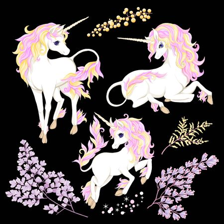 Set of three white unicorn with multycolor mane, shine stars and flowers isolated on black background. Vector illustration.
