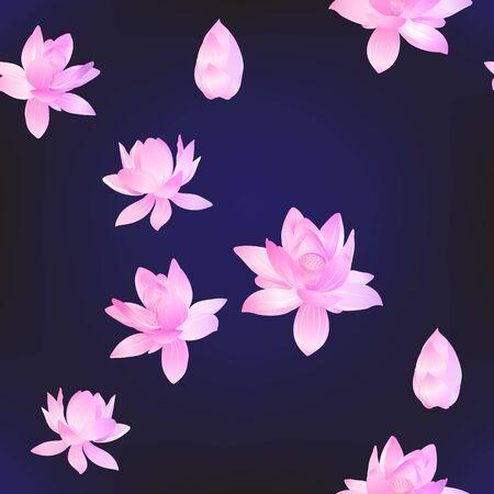 Patrón sin fisuras de flores de loto. Ilustración vectorial. En neón, colores fluorescentes sobre fondo azul.