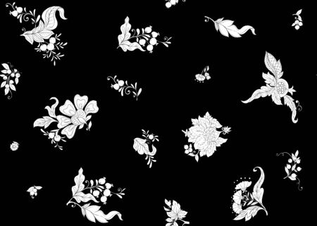 Fantasy floral seamless pattern in jacobean embroidery style, vintage, old, retro style. Black-and-white graphics. Vector illustration.