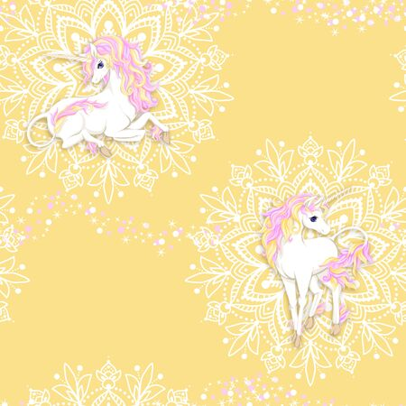 Seamless pattern, background with unicorn and mandala pattern and glitter. Vector illustration. In pink and yellow colors.