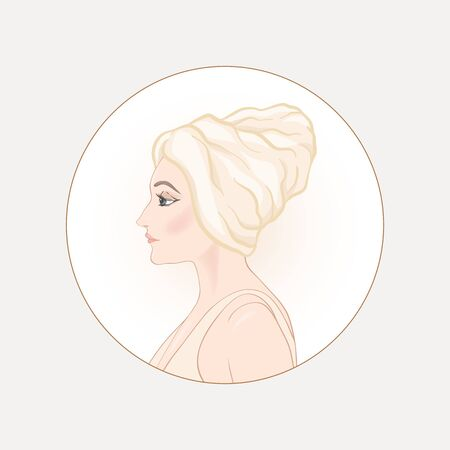 Beautiful woman 30-39 or 40-49 woman with a towel on her head. Hand drawn portrait, vector line art illustration in a circle. Stock Vector - 134606987
