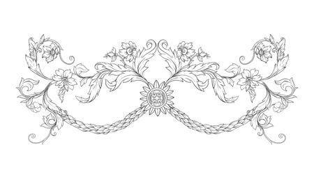 Elements In baroque, rococo, victorian renaissance style. Trendy floral vintage pattern. Vector illustration Standard-Bild - 134606983