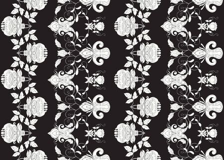 Seamless pattern with stylized ornamental flowers in retro, vintage style. Jacobin embroidery. Black-and-white graphics. Vector illustration.