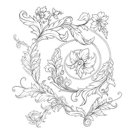 バロック、ロココ、ビクトリア朝のルネッサンス様式の要素。トレンディな花のヴィンテージパターン。ベクトルの図