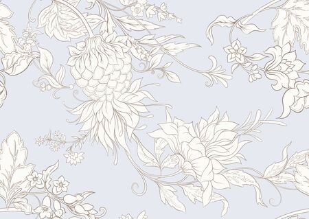Fantasy flowers in retro, vintage, jacobean embroidery style. Seamless pattern, background. Outline hand drawing vector illustration. In vintage blue and beige colors.