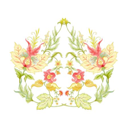 Fantasy flowers in retro, vintage, jacobean embroidery style. Embroidery for neckline. Colored vector illustration..