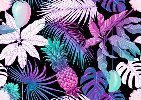 Tropical plants and flowers. Seamless pattern, background. Colored and outline design. Vector illustration in neon, fluorescent colors. Isolated on black background..