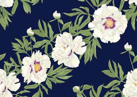 Peony flower. Seamless pattern, background. Colored vector illustration. In botanical style on space blue background.. Banco de Imagens - 133734350