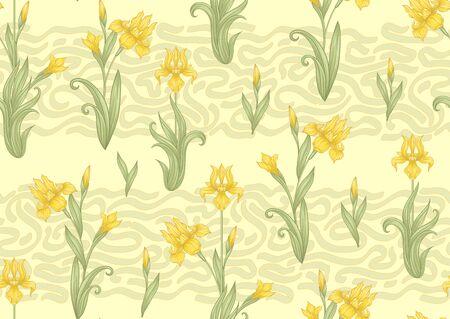 Iris flower, fleur-de-lis, flower-de-luce, flag. Seamless pattern, background. Colored vector illustration. In art nouveau style, vintage, old, retro style In soft cream yellow colors..