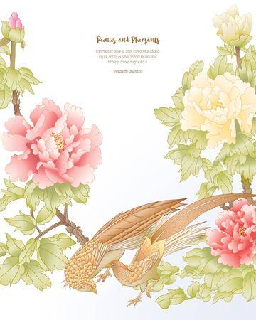 Peony tree branch with flowers with pheasants in the style of Chinese painting on silk Template for wedding invitation, greeting card, banner, gift voucher, label. Colored vector illustration.. Banco de Imagens - 133734360