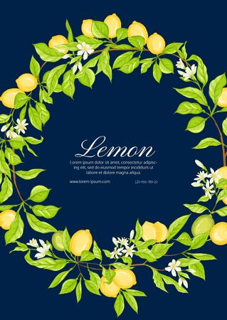 Lemon tree branch with lemons, flowers and leaves. Template for wedding invitation, greeting card, banner, gift voucher, label. Colored vector illustration.. Ilustrace