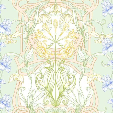 Spring flowers seamless pattern, background. Colored vector illustration. In art nouveau style, vintage, old, retro style. On tea green and pink background. Ilustracja