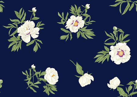 Peony flower. Seamless pattern, background. Colored vector illustration. In botanical style on space blue background..