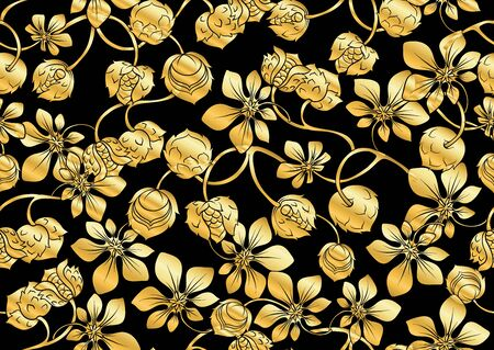 Hazelnut. Decorative motif Seamless pattern, background. In art nouveau style, vintage old retro In gold and black