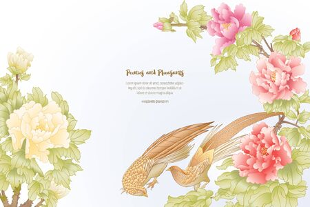 Peony tree branch with flowers with pheasants in the style of Chinese painting on silk Template for wedding invitation, greeting card, banner, gift voucher, label. Colored vector illustration.. Banco de Imagens - 133734402