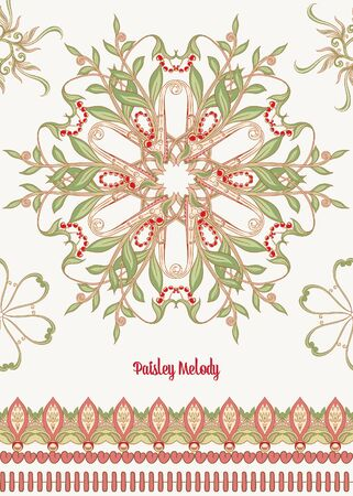 Pattern with traditional paisley. Floral vector illustration in damask style. Good for the cover of a notebook, tablet, phone. Colored vector illustration.. Banco de Imagens - 133734423