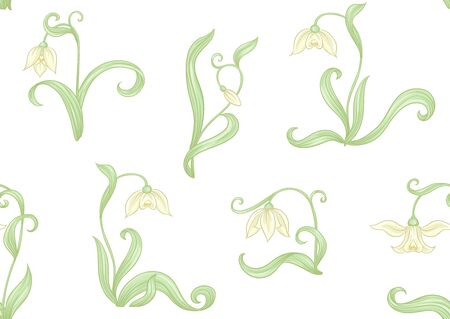 Galanthus, snowdrop, nivalis. Seamless pattern, background. Colored vector illustration. In art nouveau style, vintage, old, retro style. Isolated on white background..