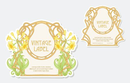 Narcissus. Set of 2 labels, decorative frames, borders. Good for product label with place for text Colored vector illustration. In art nouveau style, vintage, old, retro. Isolated on white background. Banco de Imagens - 133734429
