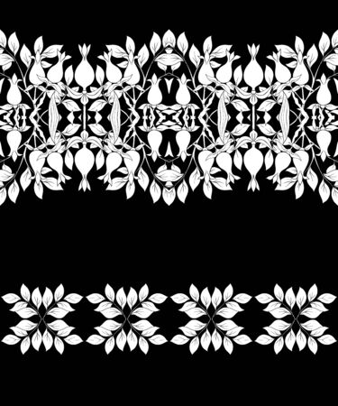 Floral Seamless pattern, background with In art nouveau style, vintage, old, retro style. Black-and-white graphics. Vector illustration.. Ilustracja