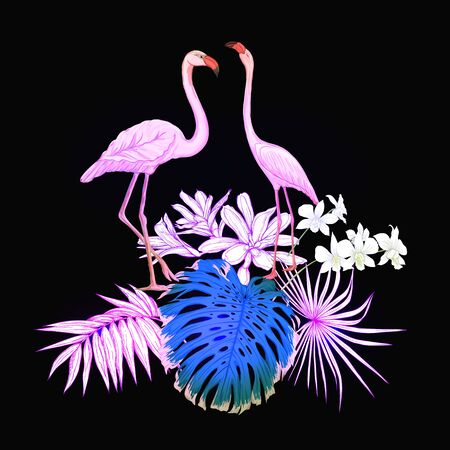 A composition of tropical plants, palm leaves, monsters and white orchids with flamingo In botanical style Colored vector illustration in neon, fluorescent colors. Colored and outline design. Çizim