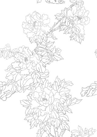 Peony tree branch with flowers in the style of Chinese painting on silk Seamless pattern, background. Outline hand drawing vector illustration.. Banco de Imagens - 133734438