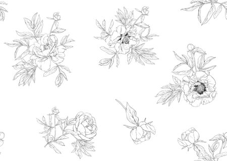 Peony flowers. Seamless pattern, background. Outline hand drawing vector illustration. In botanical style Isolated on white background.. Banco de Imagens - 133734439
