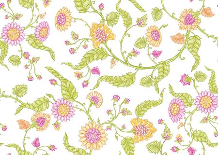 Seamless Indian floral ethnic pattern . Colored vector illustration. Isolated on white background. Vector Illustratie